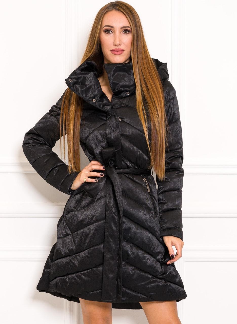 c04fd5d0c Glamadise.sk - Zimná exkluzívny bunda do zvonu na viazanie čierna ...