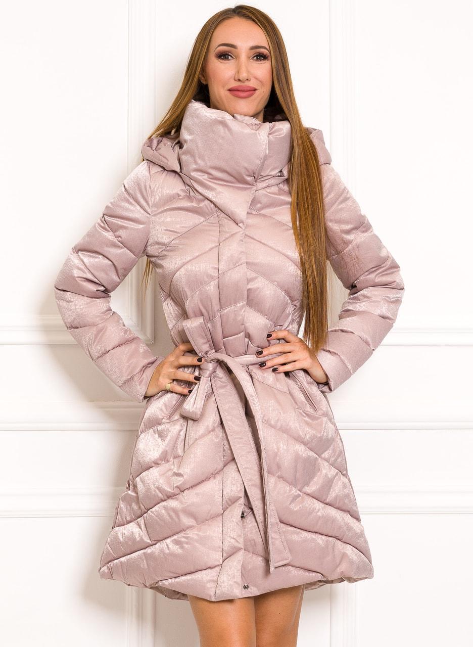 Glamadise.sk - Zimná exkluzívny bunda do zvonu na viazanie ružovo ... 3e2db5e5efe