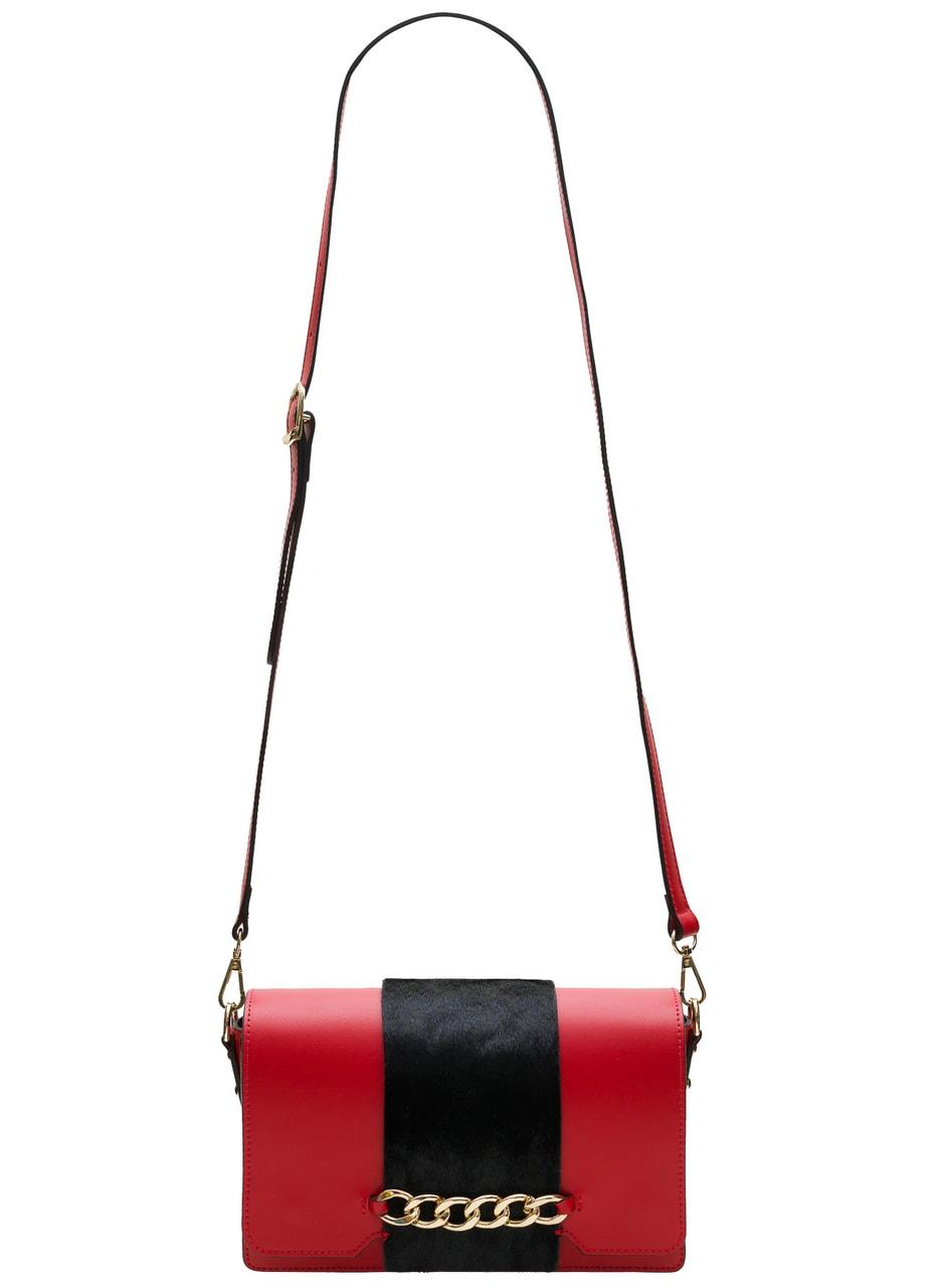 Glamadise.sk - Dámská crossbody kabelka červená s černou srstí ... e46cd8981af