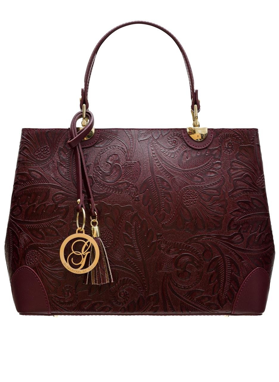 b1565b2ec0f Dámská kožená kabelka ražená s květy - vínová - Glamorous by GLAM ...