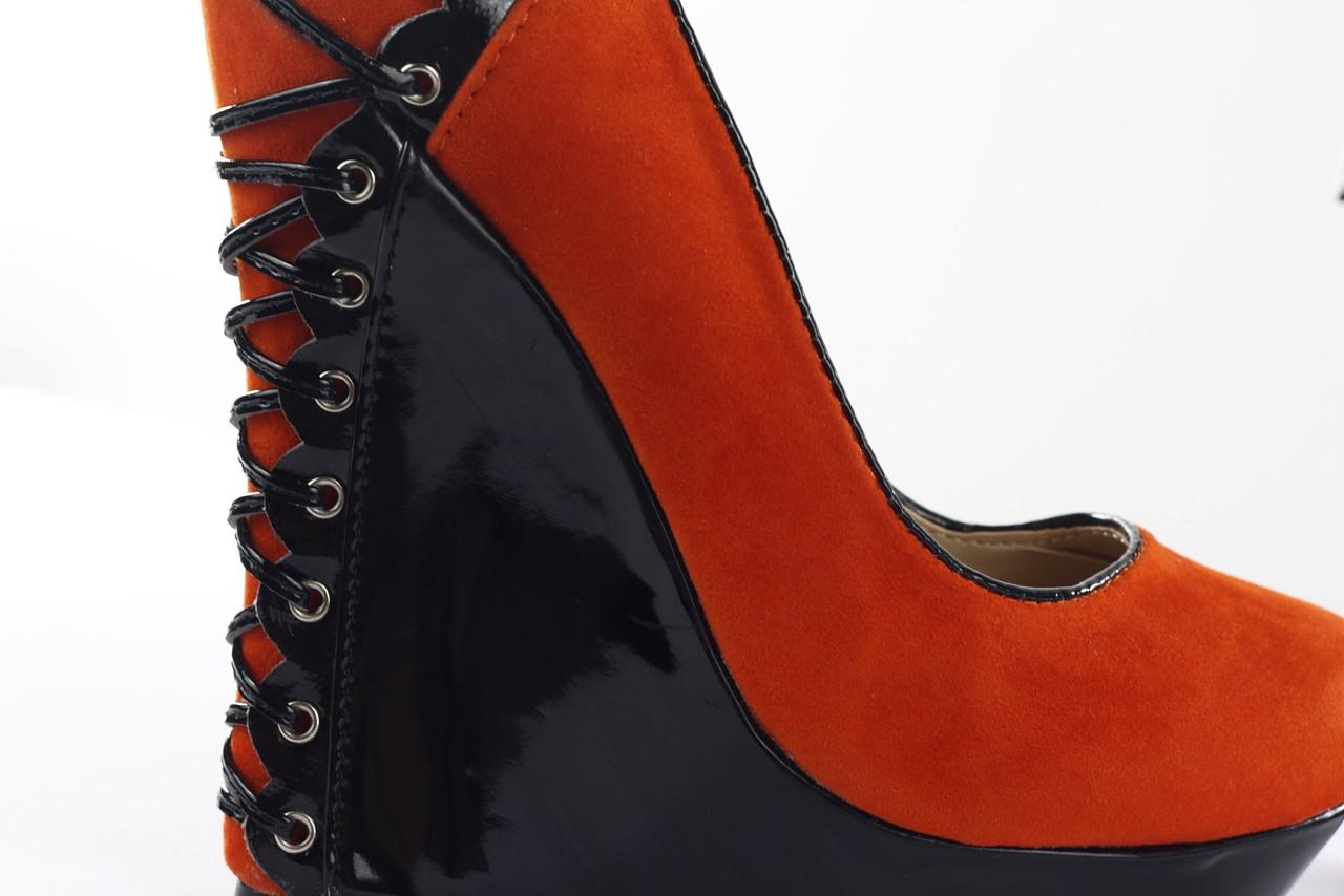 44f4a743ab8 Dámské extravagantní boty na platformě - klínku oranžové ...