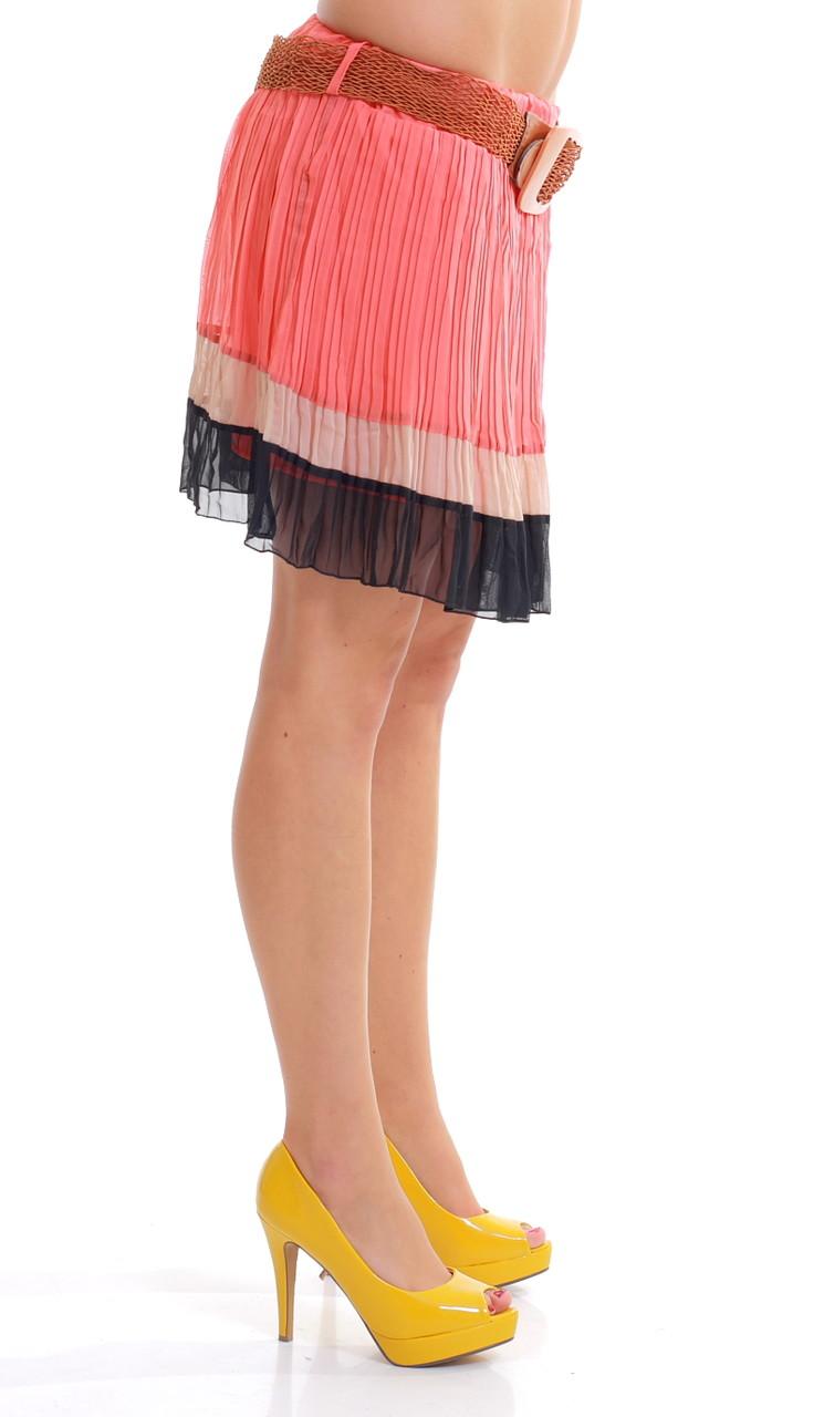 1ec41988c9d Dámská letní mini šifonová sukně černo-lososová