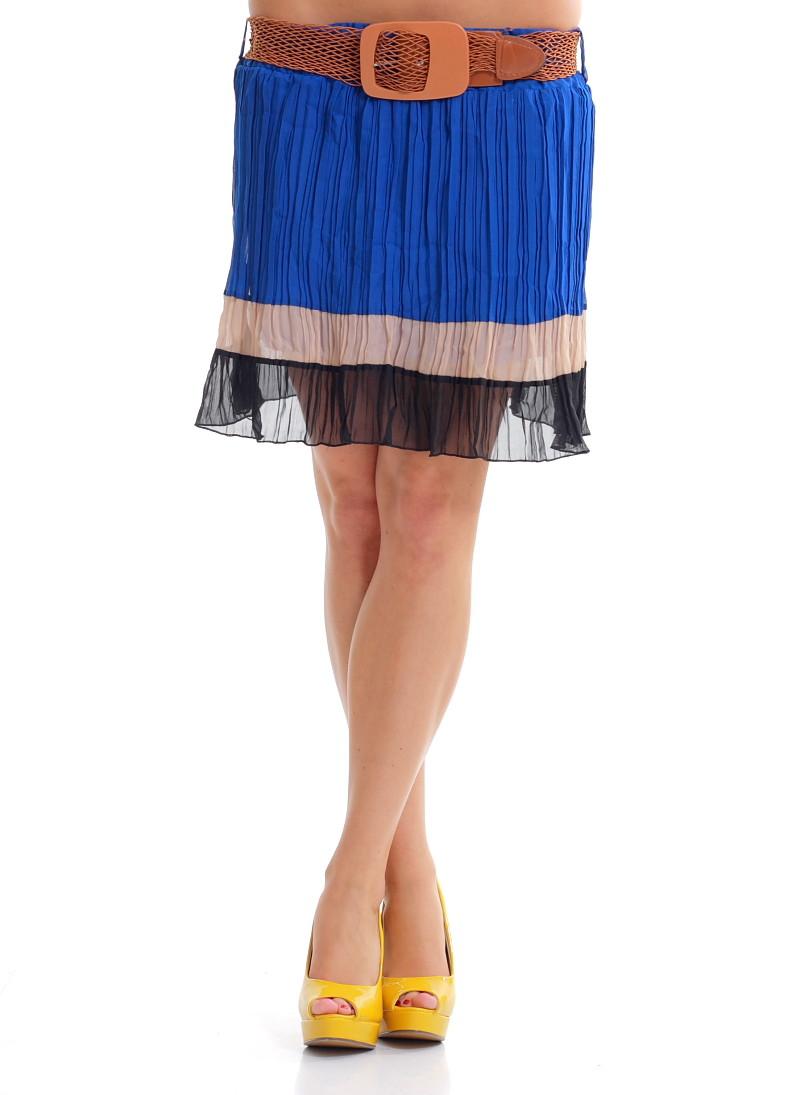 e439b162c0e Dámská letní mini šifonová sukně černo-modrá