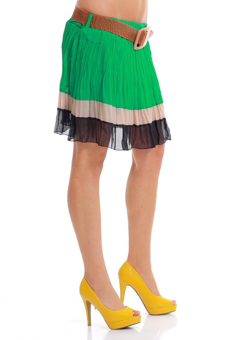 b2658219b5a Dámská letní mini šifonová sukně černo-zelená