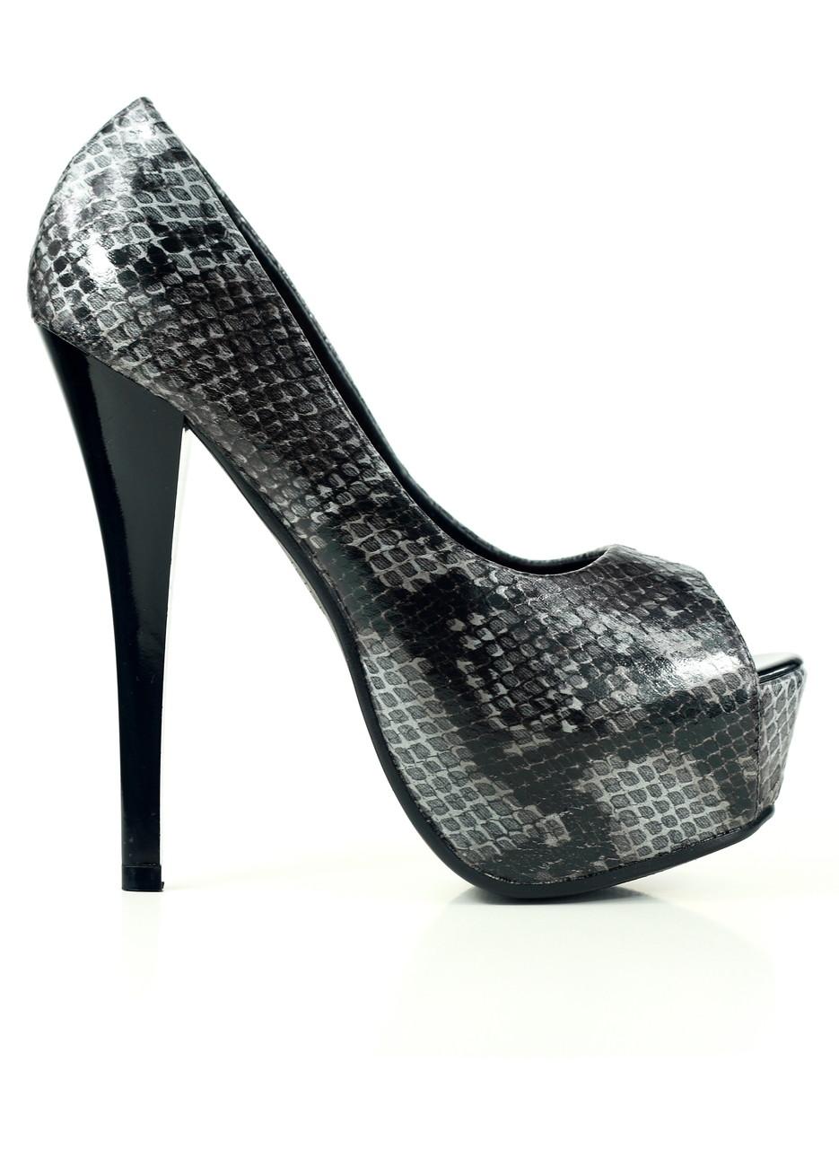 a191d88f9a6 Dámské lodičky na platformě hadí šedé - GLAM GLAMADISE shoes ...