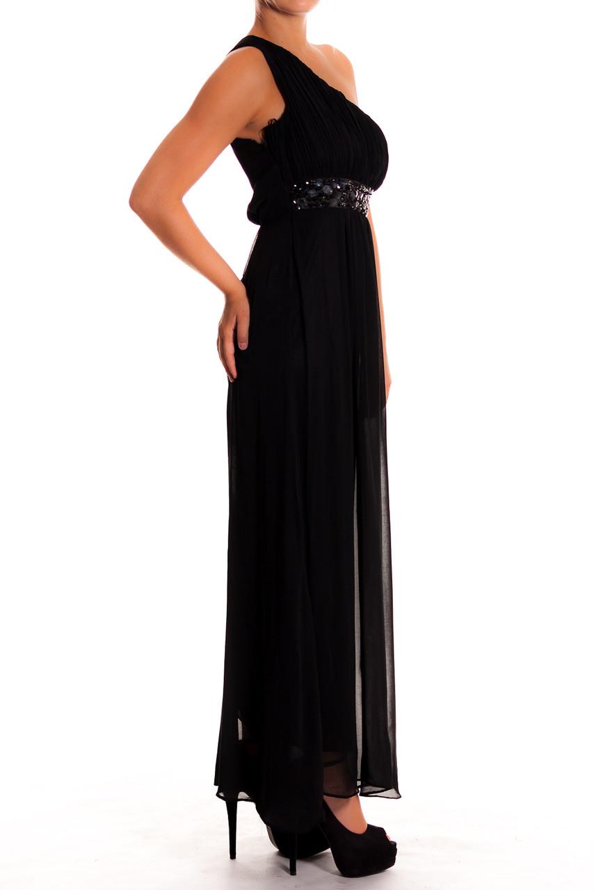 Glamadise.sk - Dámske dlhé šaty čierne na jedno rameno - Dlhé šaty ... 8d345b898f4