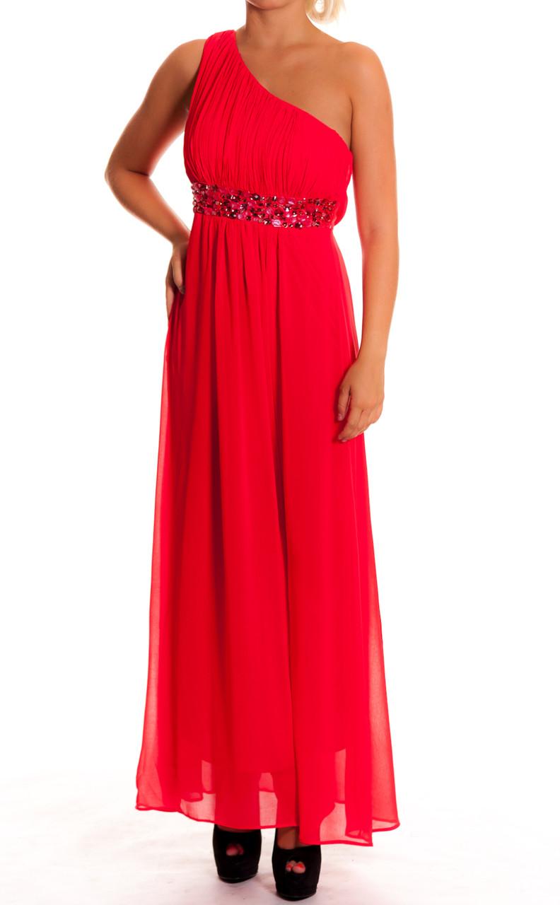 74f1cdb6234 Dámské dlouhé plesové šaty červené na jedno rameno - Dlouhé šaty ...