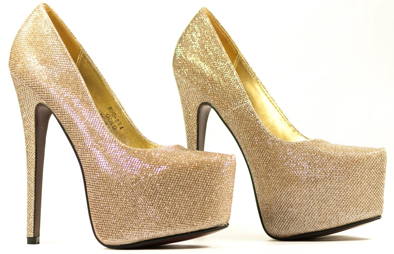 Glamadise.sk - Dámske módne zlaté lodičky na platforme ... cf395ef3ead