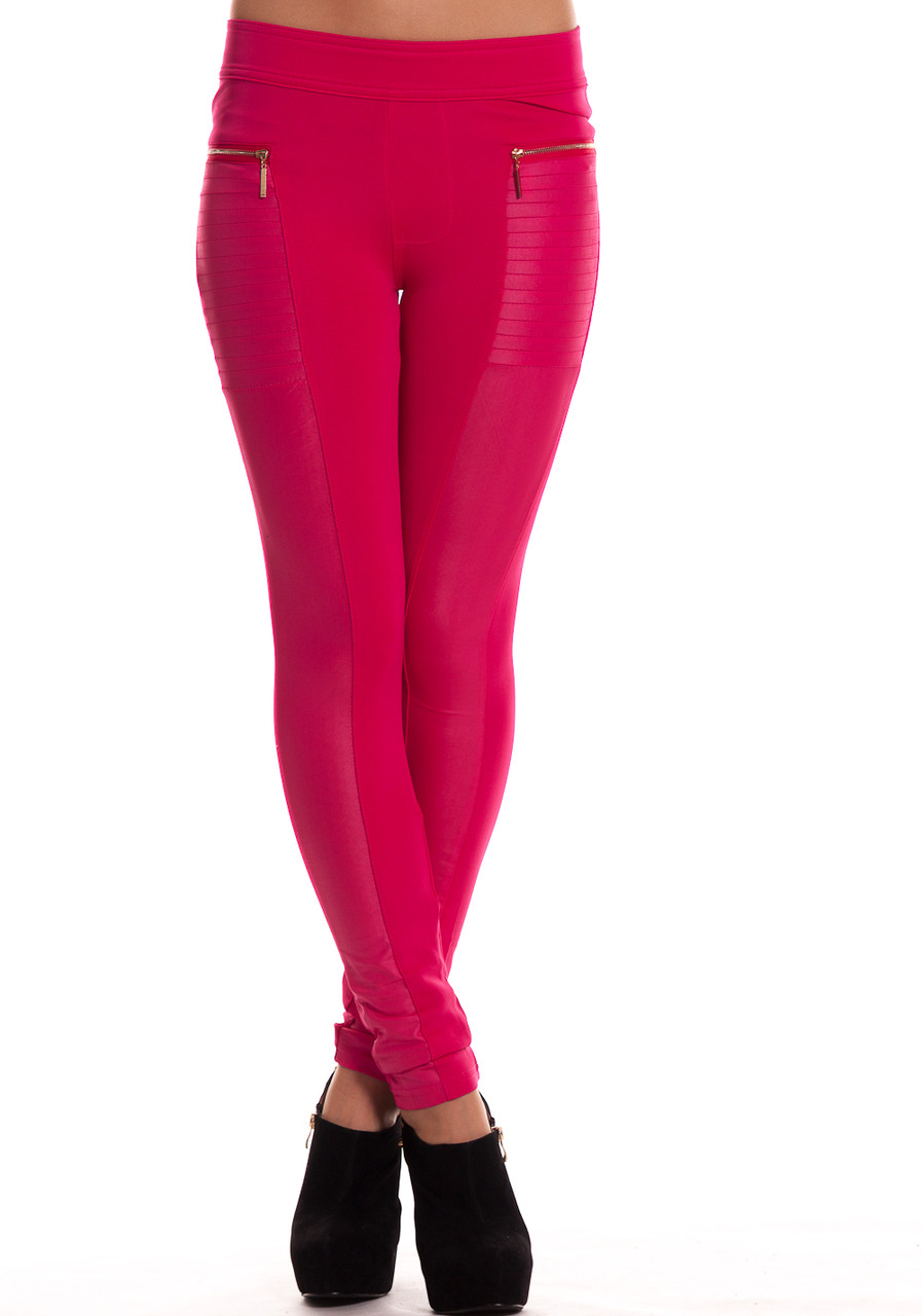 Dámské legíny růžové se zipy - Legíny - Kalhoty 06864acf8d