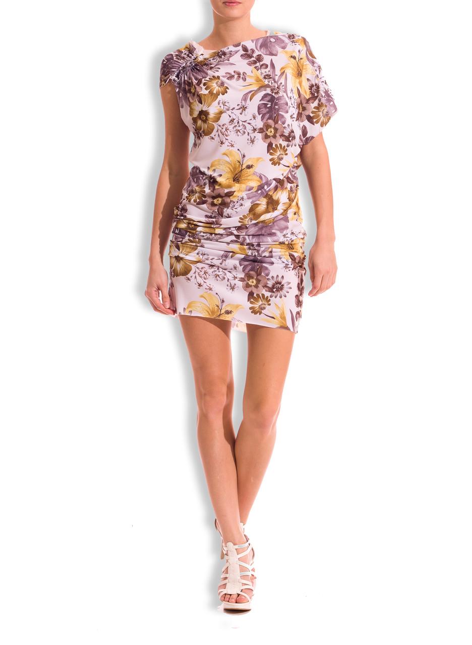 85af0913d7d GbyG květinové letní šaty žluto - šedé - Glamorous by Glam - Šaty ...