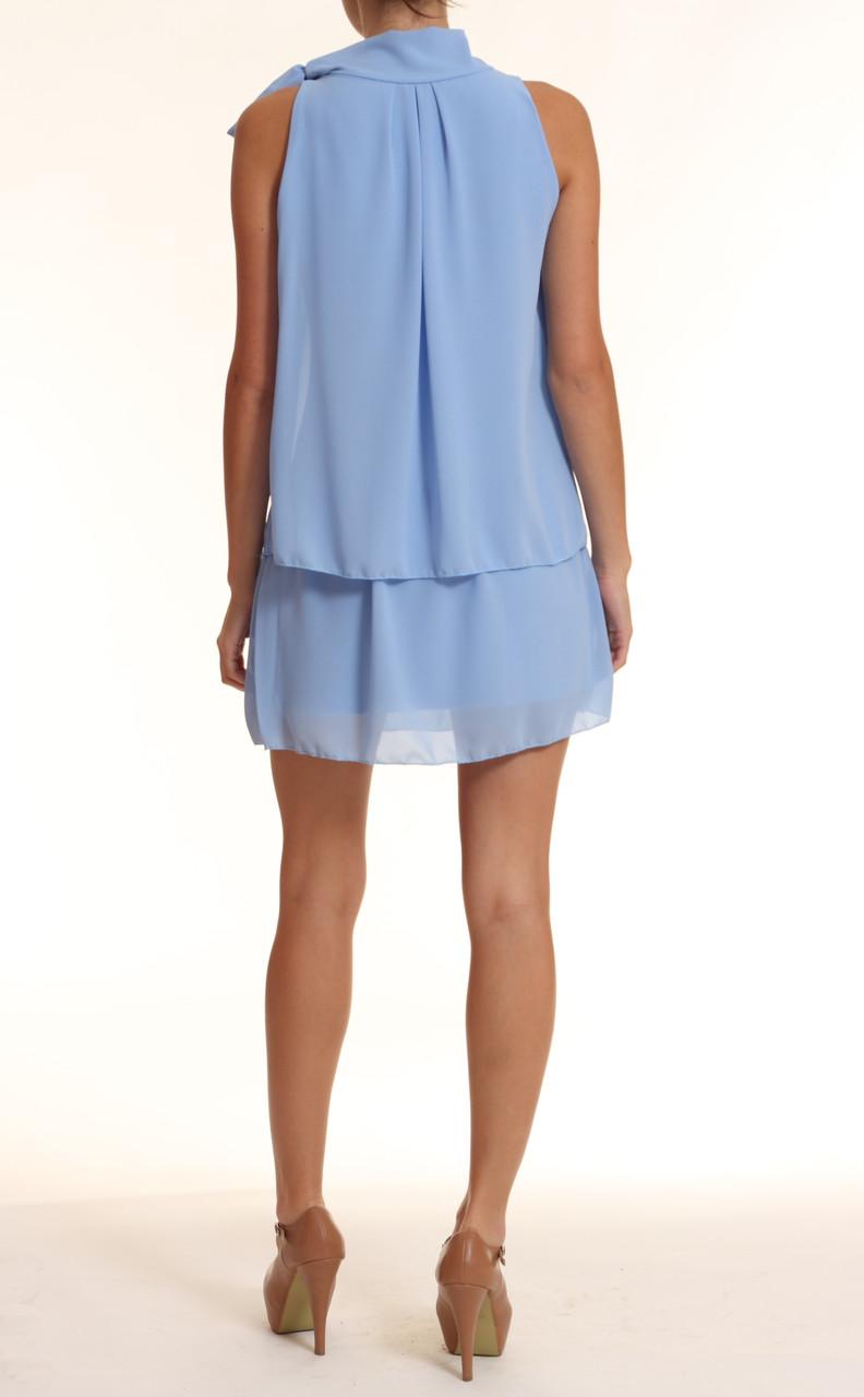 627b90da8b93 Glamadise.sk - Letné šaty pri krku mašle sv.modrá - Glamorous by ...