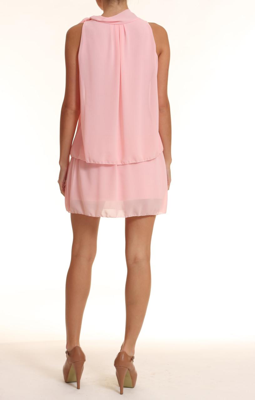 Letní šaty u krku mašle sv. růžová - Glamorous by Glam - Šaty ... af746bb76f