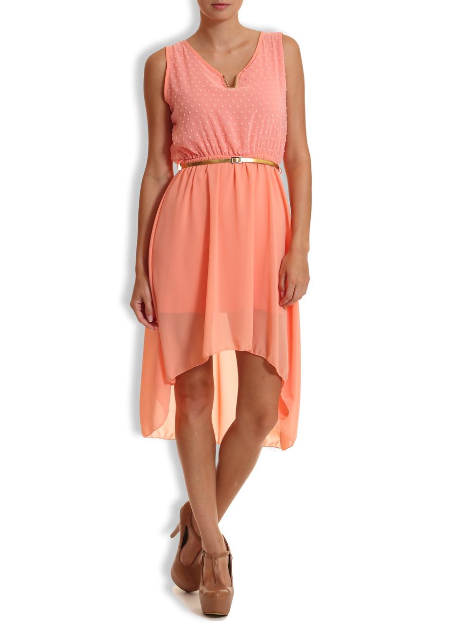 041d9dfcc33 Letní šaty s puntíky a zlatým páskem losos. - Glamorous by Glam ...