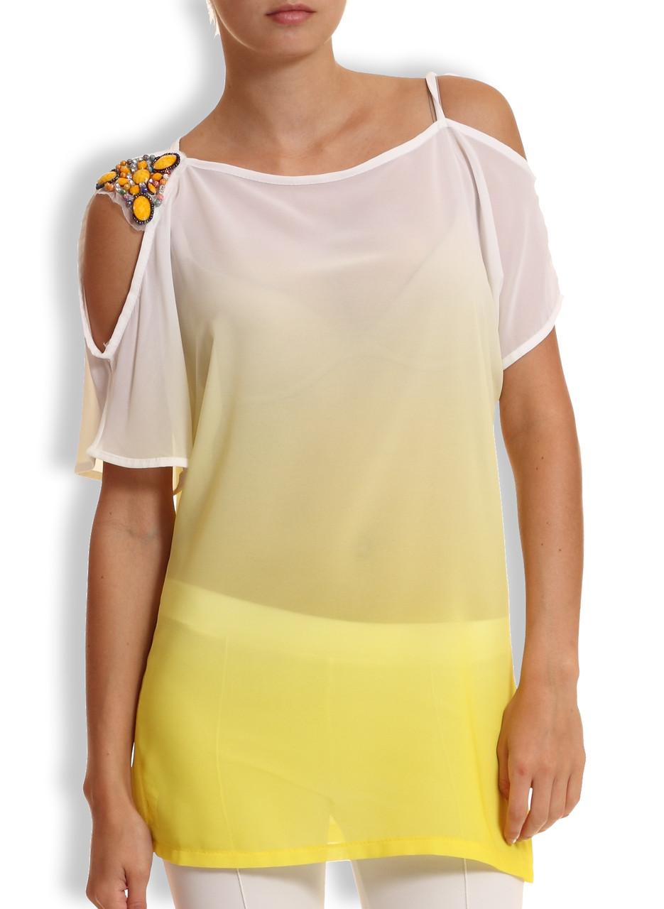 Letní top na rameni kamínky žlutá - Glamorous by Glam - Topy a ... 9ca11f41ef