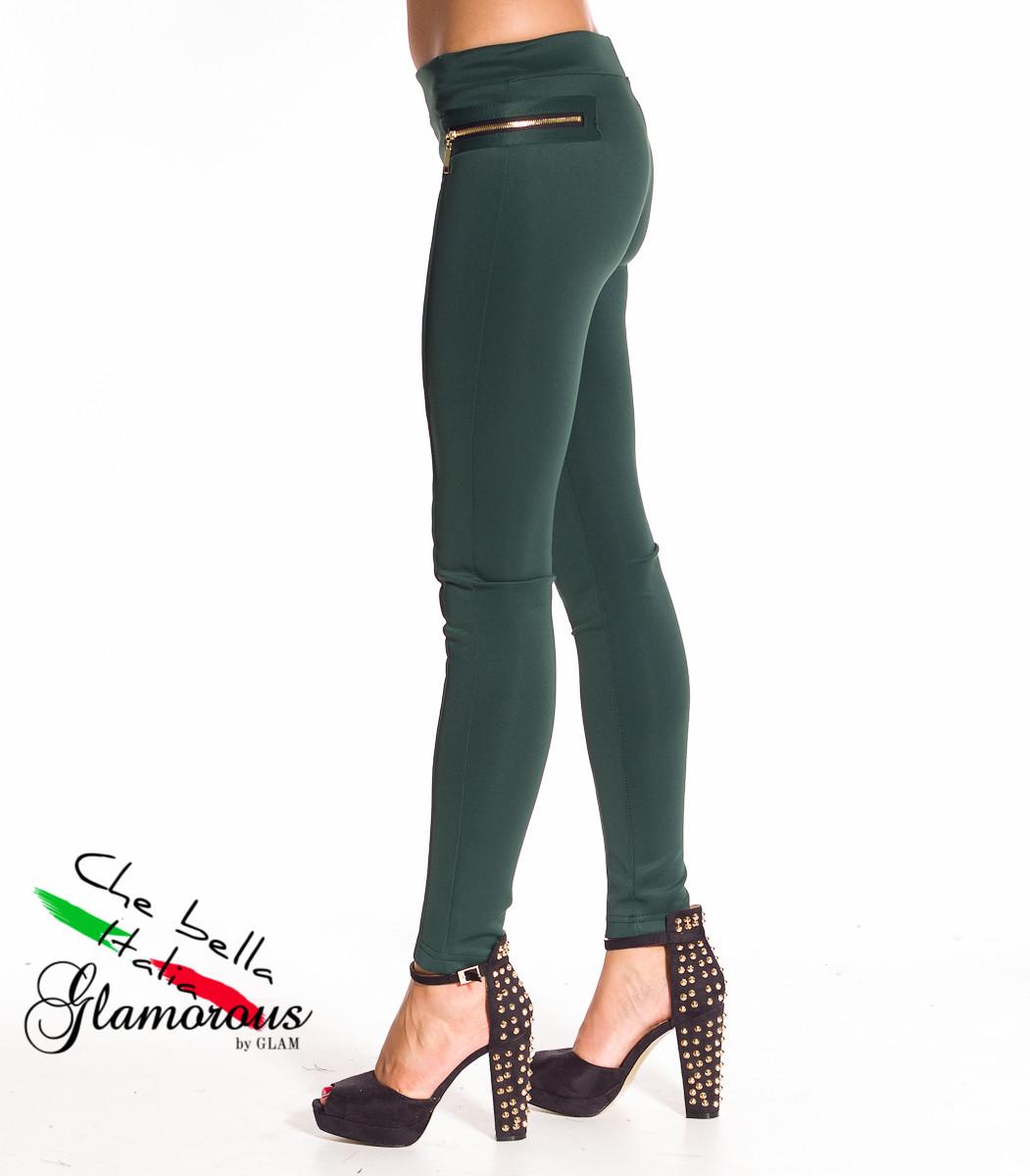 e45ef27658c Dámské legíny se zlatým zipem - zelená - Glamorous by Glam - Legíny ...