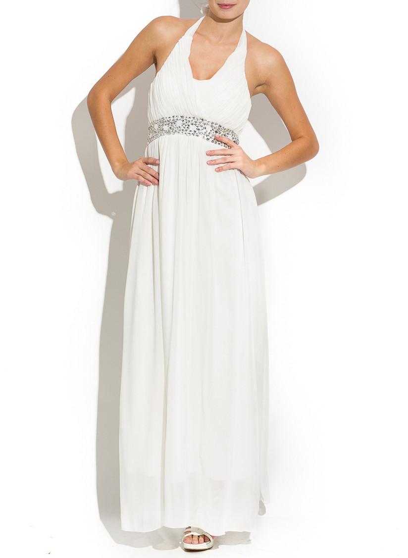 66a03d69f033 Glamadise.sk - Spoločenské dlhé šaty okolo krku - biela - Dlhé šaty ...