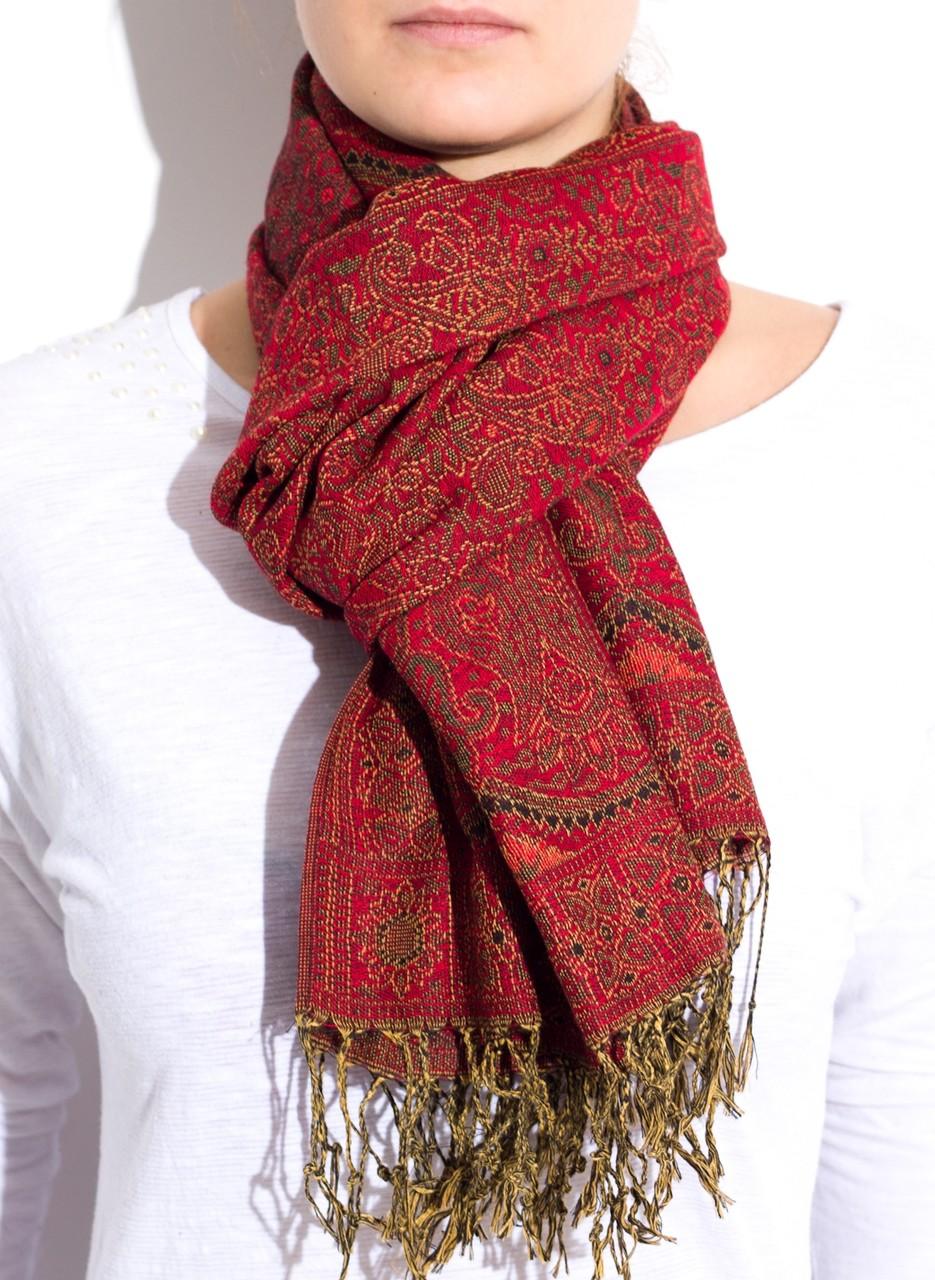 Dámská šála s jemným vzorem-červená - Šály šátky - Doplňky - GLAM ... 1eba5a4c00