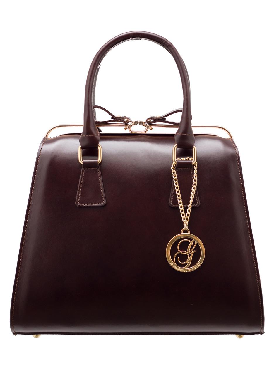Glamadise.sk - Dámska kožená kabelka kufrík - tmavo hnedá ... bc36c0221c1