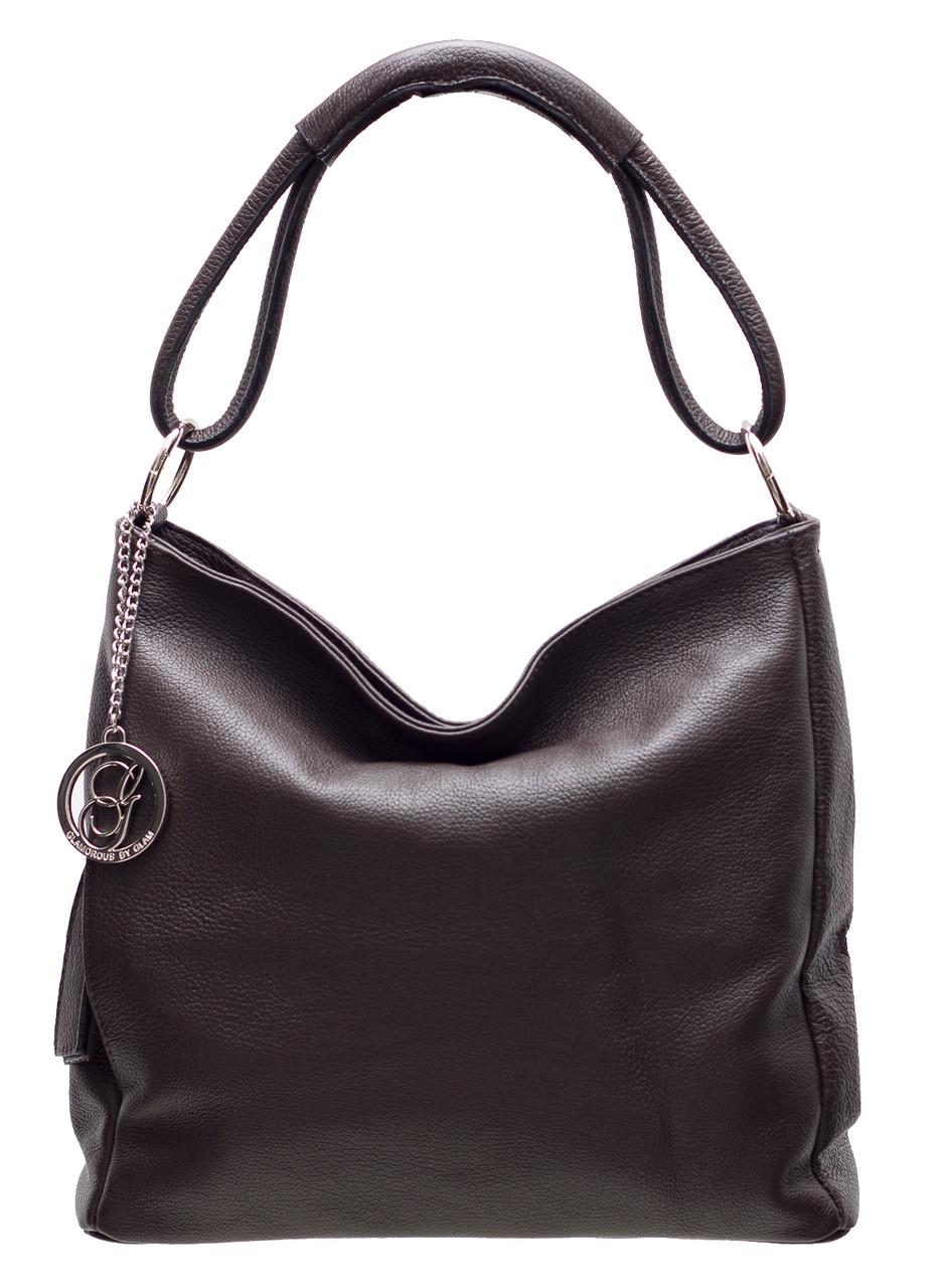 Glamadise.sk - Dámska kožená kabelka cez plece - tmavo hnedá ... 24fa3d1b47a