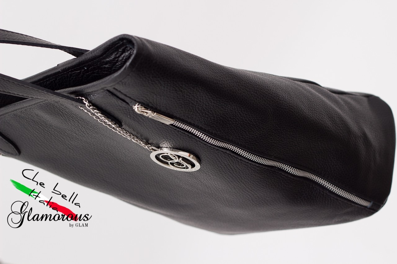 Glamadise.sk - Dámska kožená kabelka čierna so zipsom - Glamorous by ... eb1cf99b644