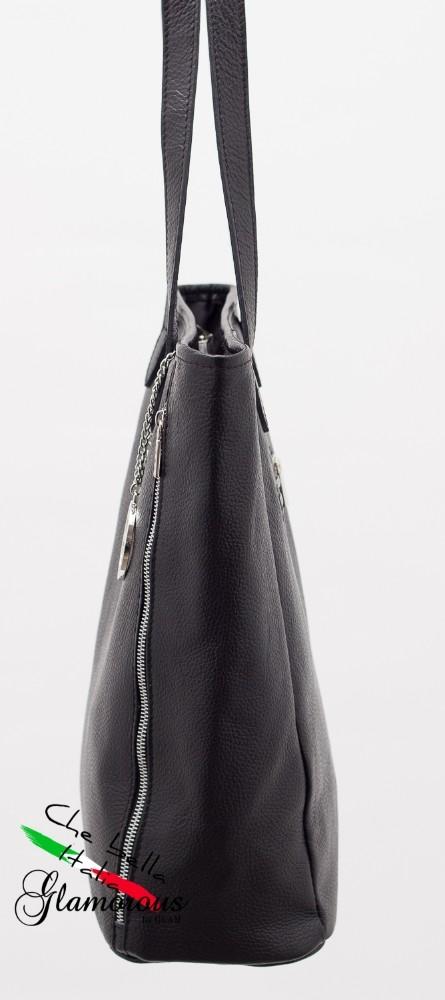 Glamadise.sk - Dámska kožená kabelka čierna so zipsom - Glamorous by ... c5de434b546
