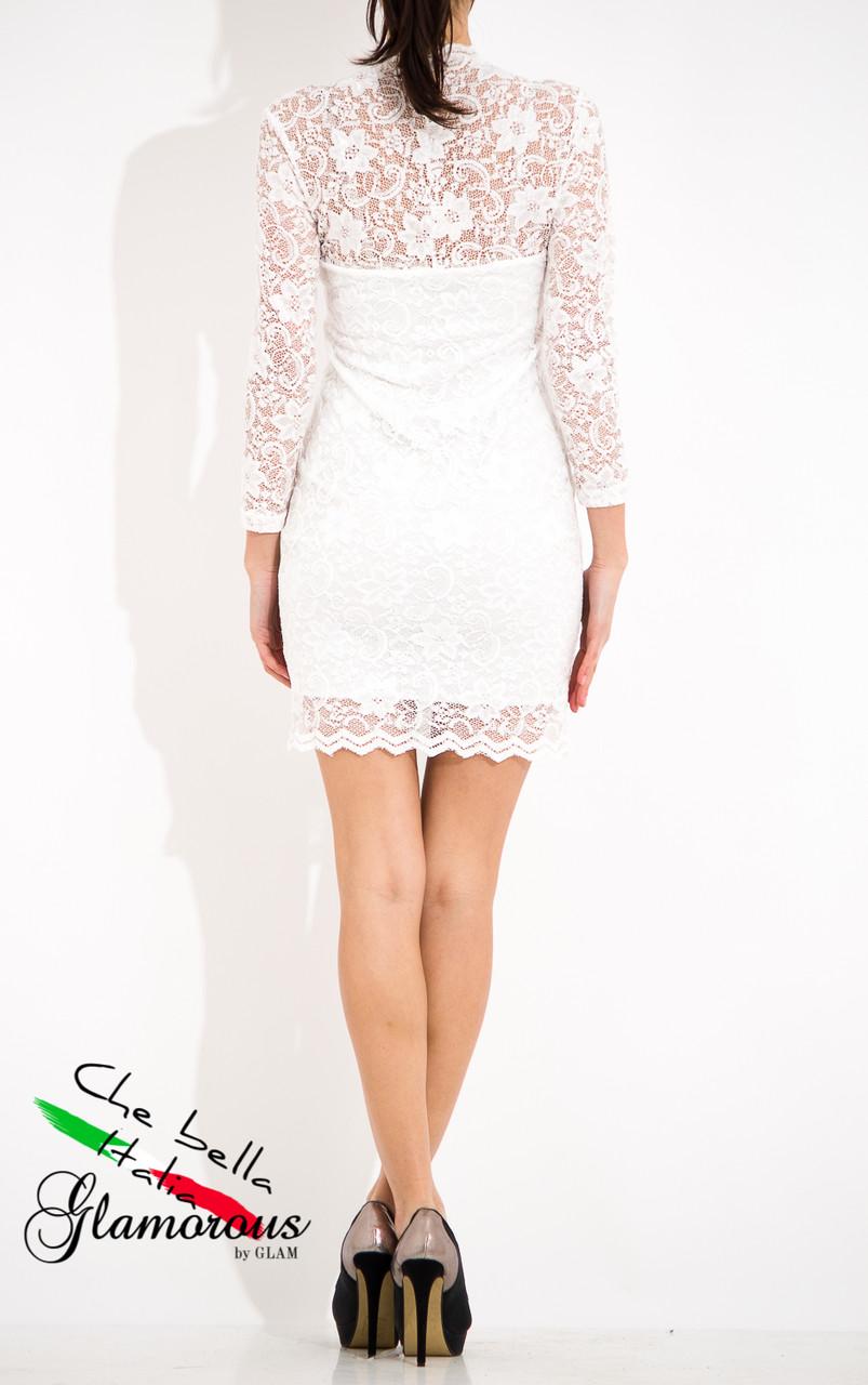 Glamadise.sk - Dámske šaty s dlhým rukávom a čipkou - biela ... 613e68bca48