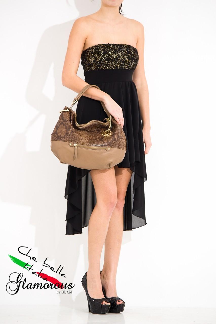 Kožená kabelka s hadím vzorem a zipem - béžová - Glamorous by Glam ... 27ce04a7a15