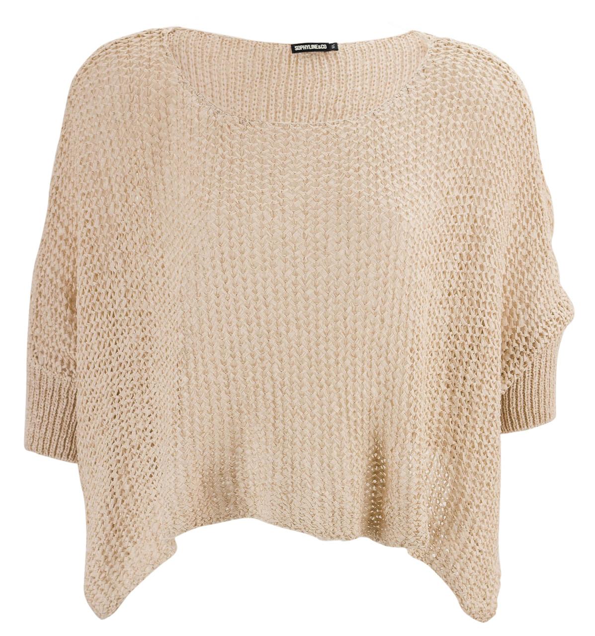 Dámský svetřík netopýří střih béžová - Svetry - Dámské oblečení ... cbe8f7b209