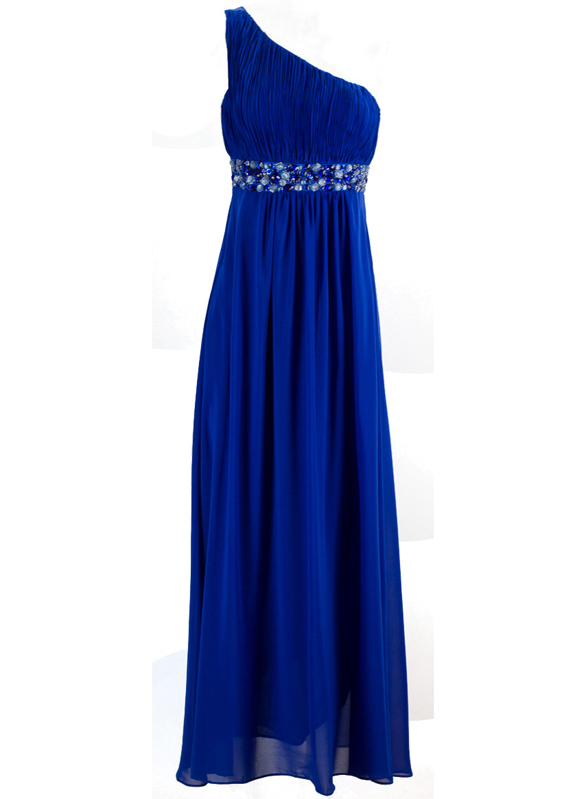 Společenské šaty přes jedno rameno - modrá - Dlouhé šaty - Dámské ... 8c034ebcb6
