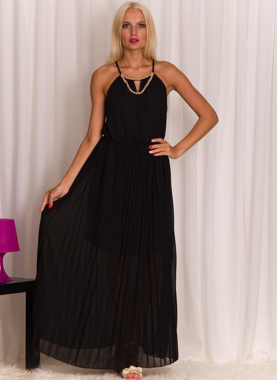 Glamadise.sk - Dlhé šaty so zlatým zdobením čierne - Glamorous by ... 95de5cc91ed