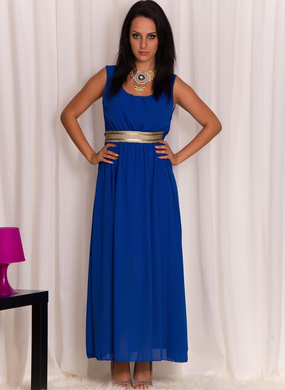 Dámské delší šaty se zlatým pruhem modré - Glamorous by Glam ... c26910f843