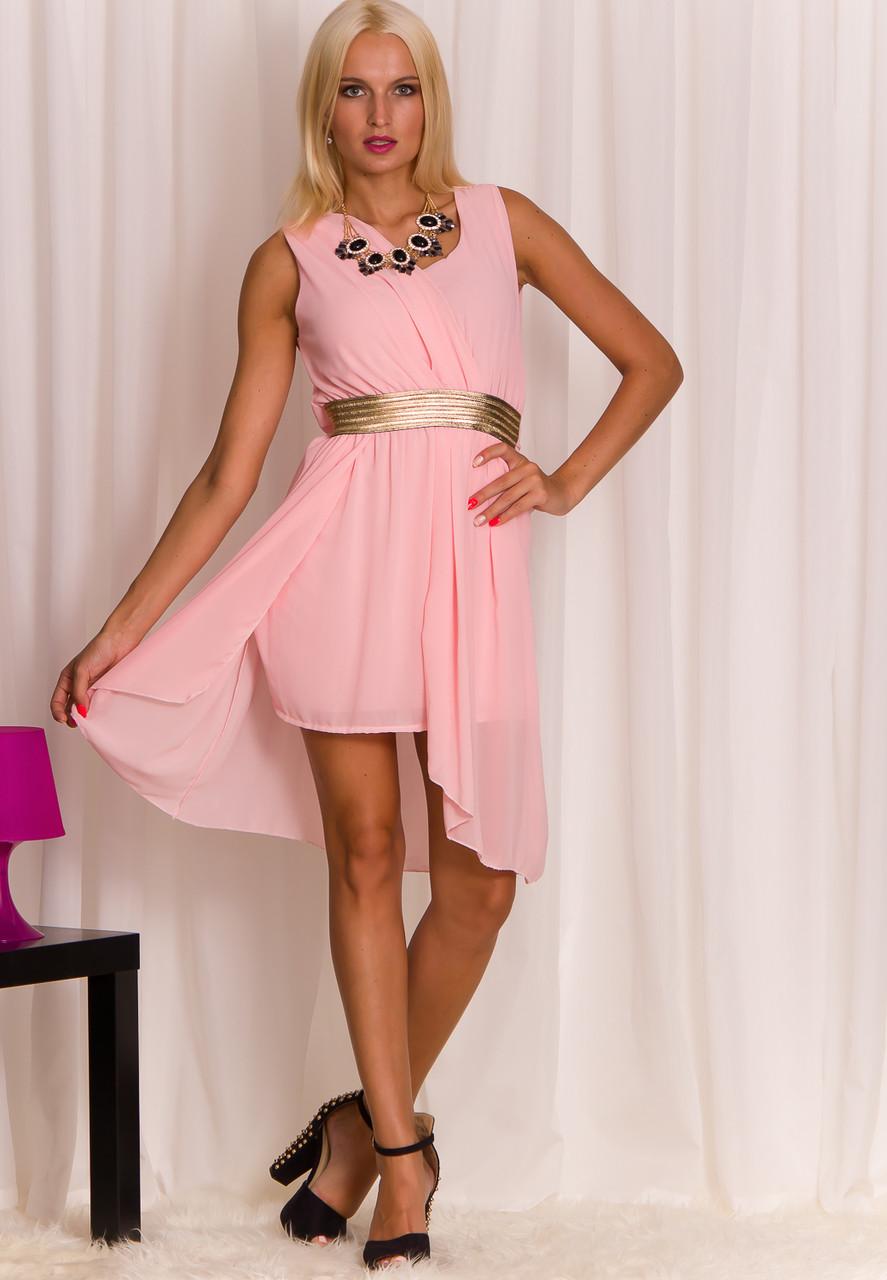 Světle růžové šaty letní zlatý pás - Glamorous by Glam - Šaty ... d58edfb0a7
