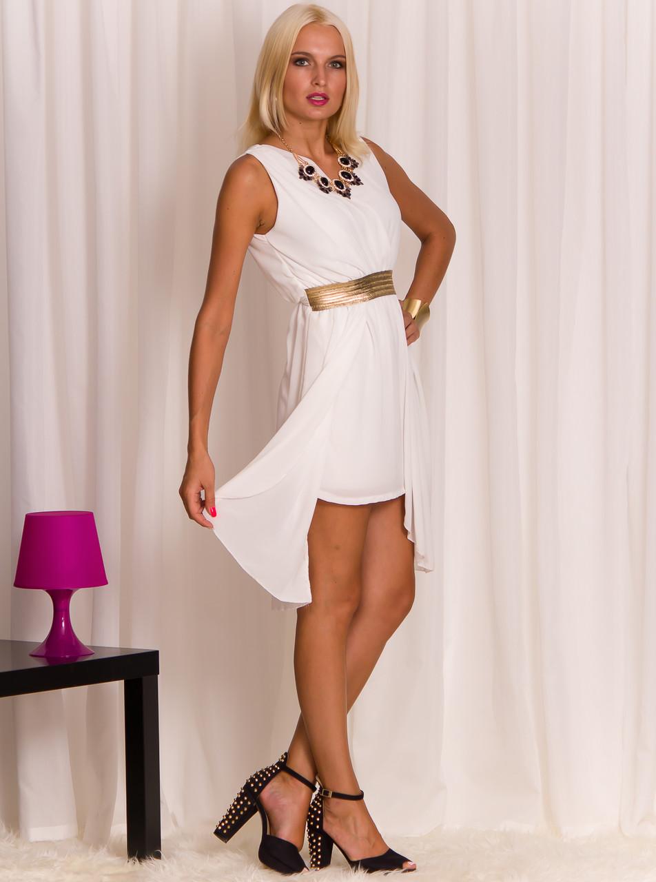 Glamadise.sk - Biele šaty letné zlatý pás - Glamorous by Glam - Šaty ... 139618d2e99