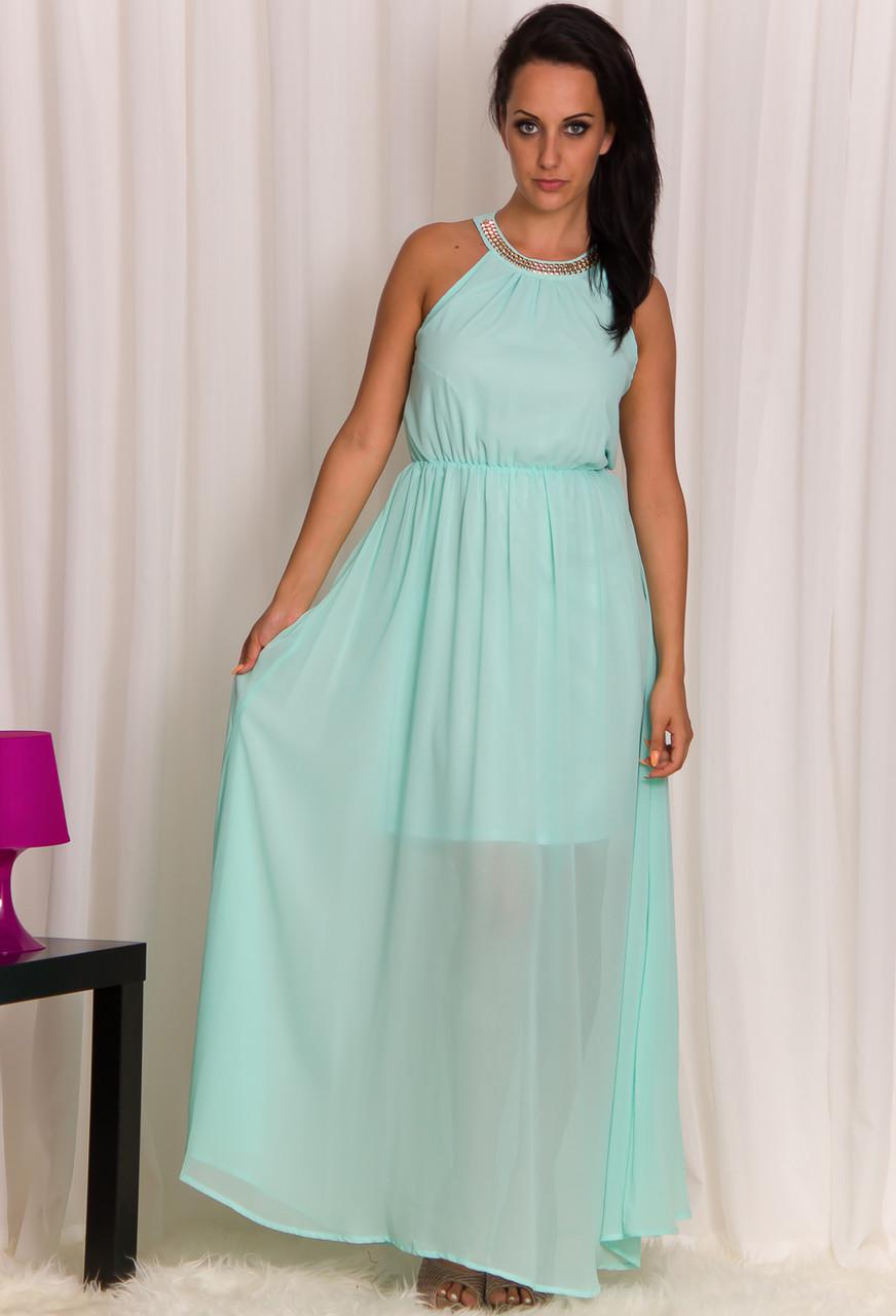 Dlouhé letní šaty s pyramidkami světle modré - Glamorous by Glam ... e616ca0afb