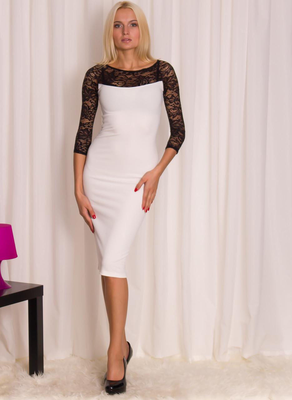 Dámské delší šaty s krajkou - bílá - Glamorous by Glam - Šaty ... cc3449251b