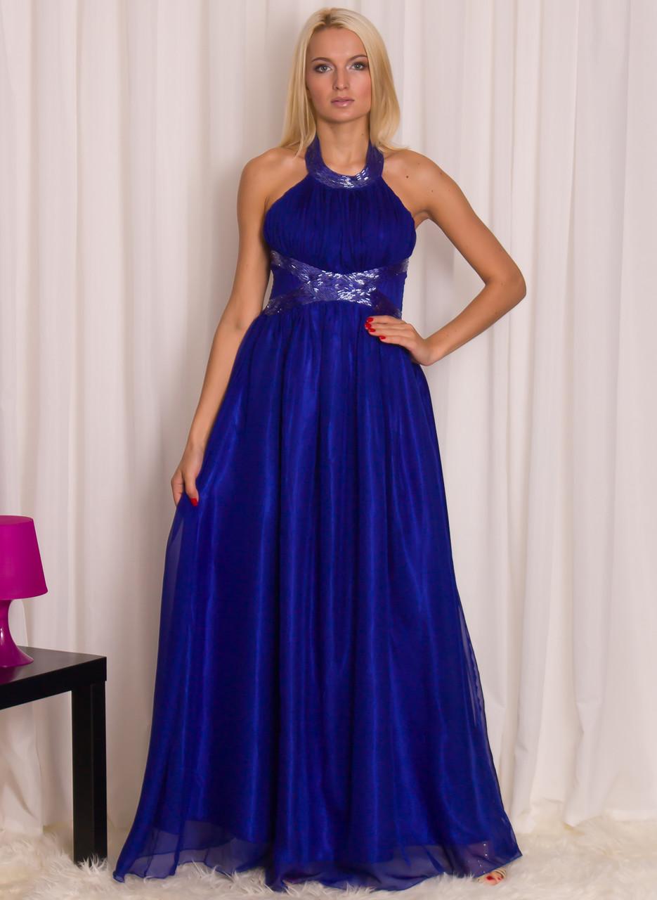 182c0f0986c Společenské dlouhé šaty modré s kamínky v pase - Luccama - Dlouhé ...