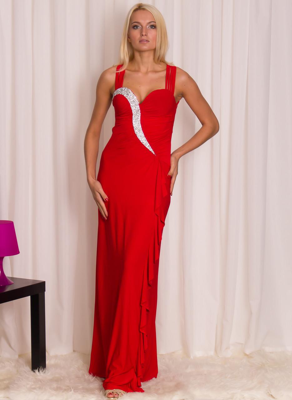Společenské dlouhé šaty s volnými zády a zdobením - červené - Due ... 8141e405d9