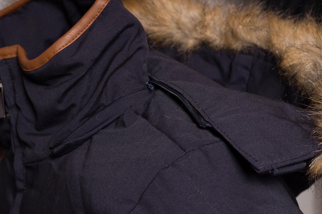 Glamadise.sk - Dámsky zimný kabát modro - béžový s kapucňou a chlpom ... 3a013e726ba