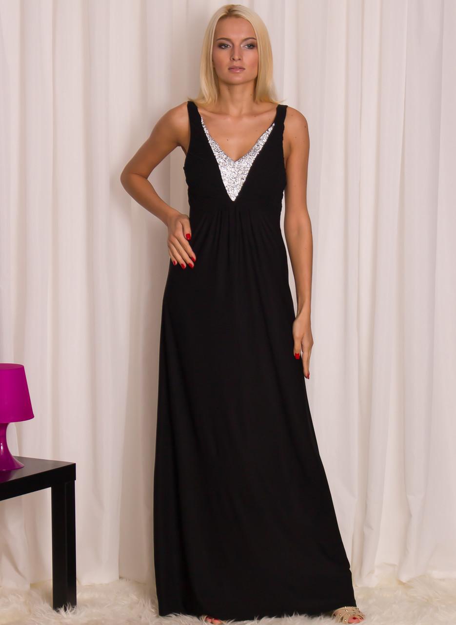 Společenské dlouhé šaty černé se stříbrným zdobením - Luccama ... b4deefb2a2