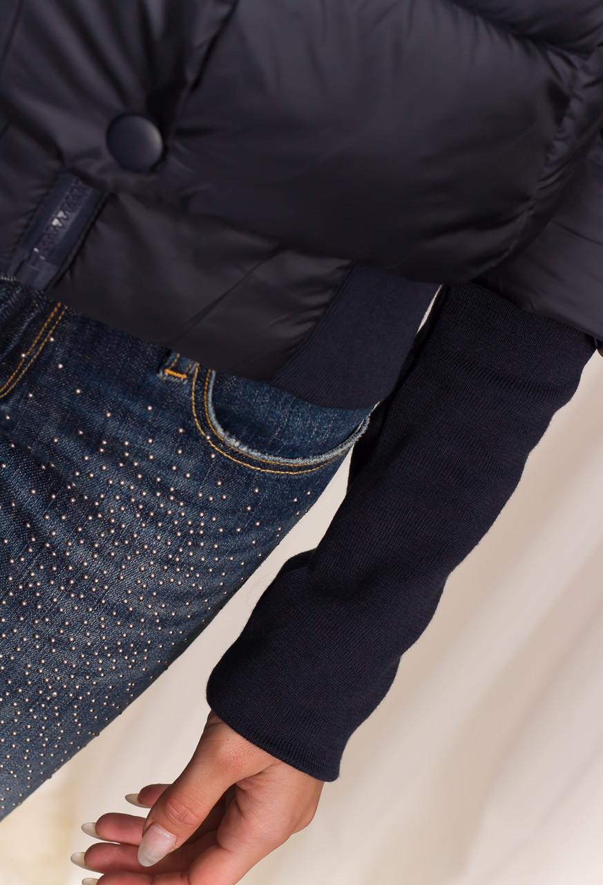 Dámská krátká zimní bunda s lemem - modrá - Due Linee - Poslední ... f1a414d055a