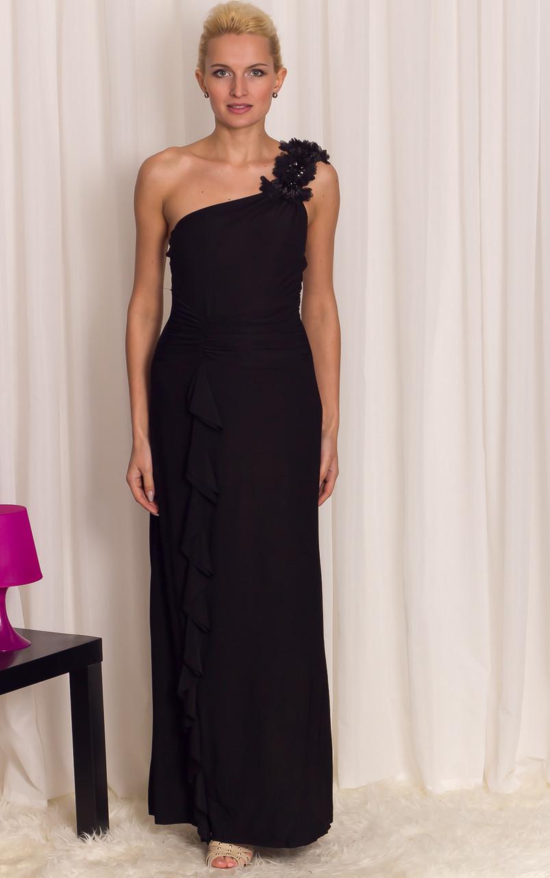 Společenské dlouhé šaty na jedno rameno s volánem - černá - Due ... c9fc982867
