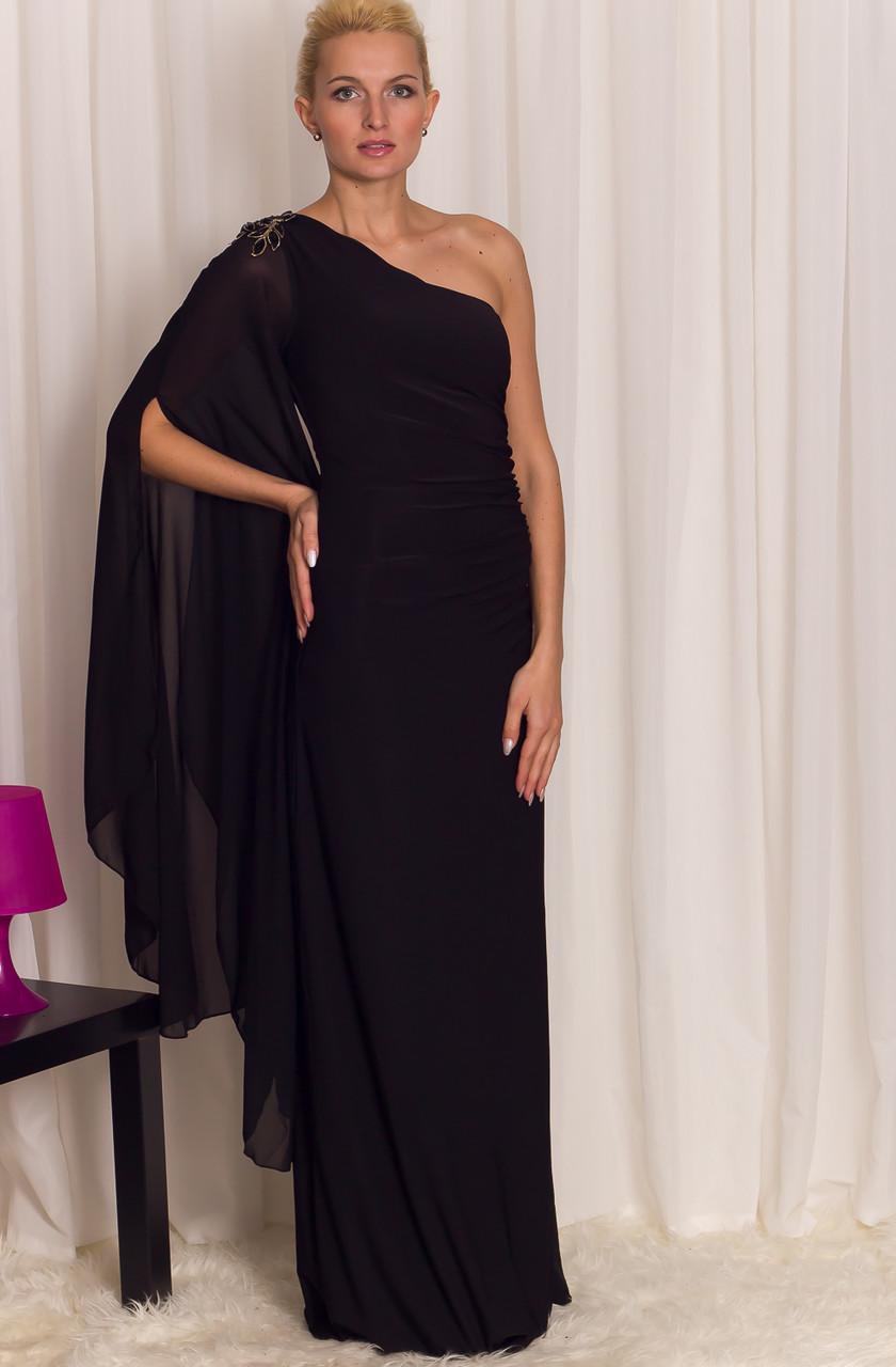 b313473671a8 Glamadise.sk - Spoločenské dlhé šaty s rukávom - čierne - Luccama ...