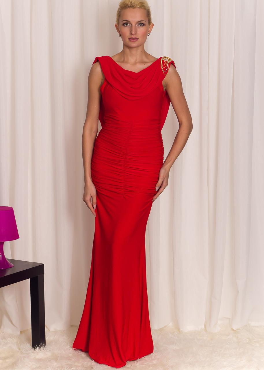 Společenské dlouhé šaty se zlatou ozdobou - červené - Luccama ... 963cb32f2f
