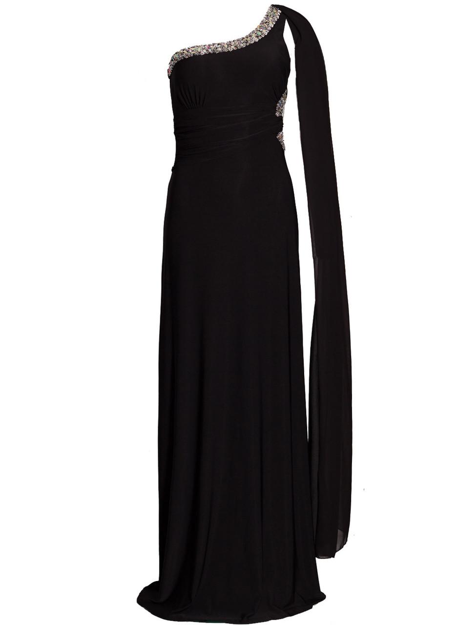 Glamadise.sk - Spoločenské dlhé šaty so zdobením a šálom - čierna ... 7935819fc00