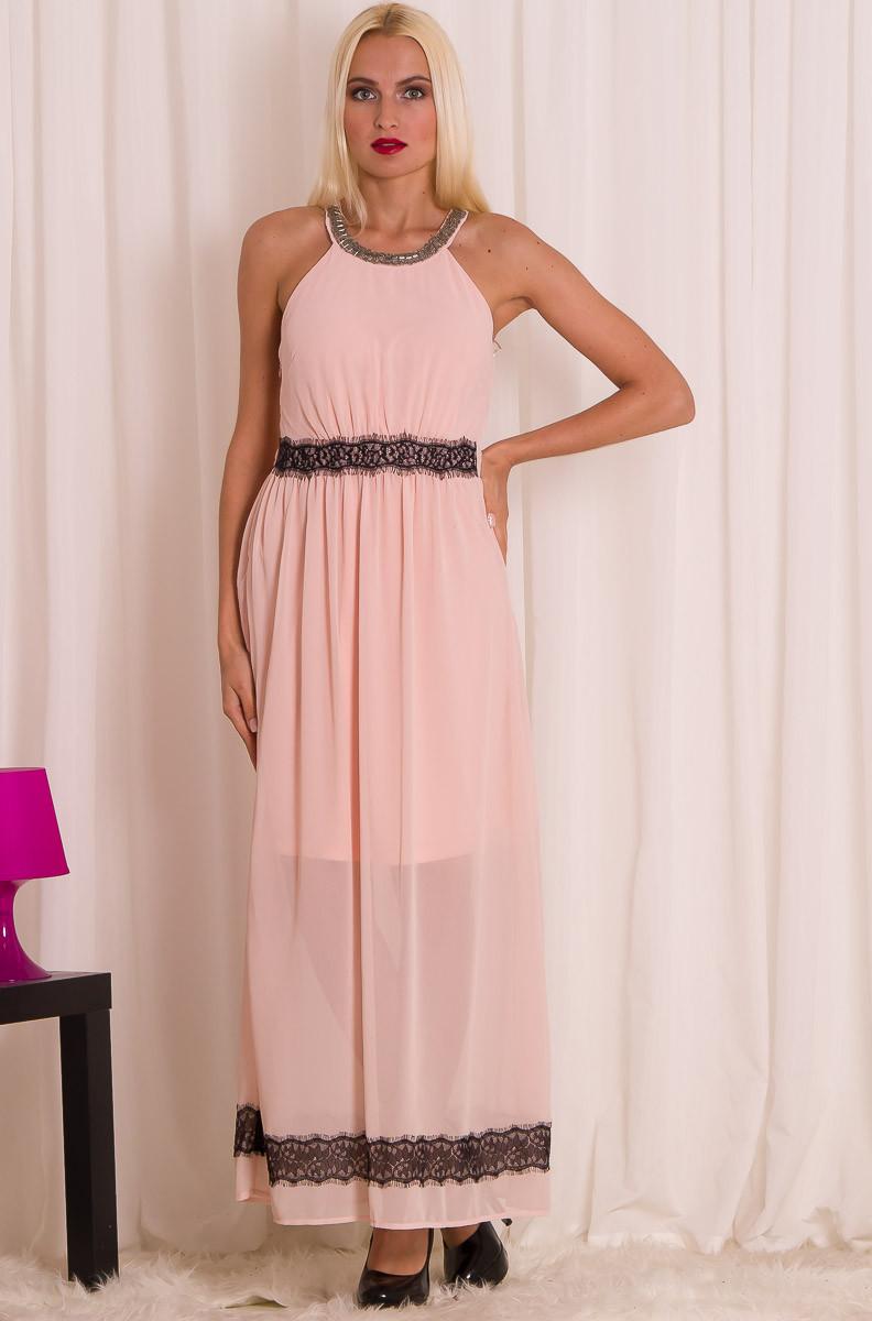 Dámské dlouhé letní šaty s krajkou - světle růžová - Glamorous by ... 5a7f4c801b
