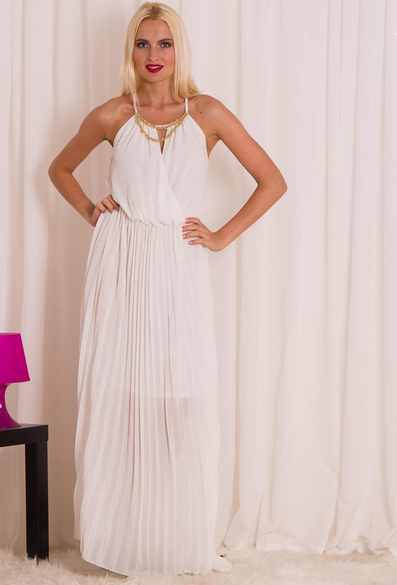 Dlouhé letní šaty se zlatým zdobením - bílá - Glamorous by Glam ... 59031346f3