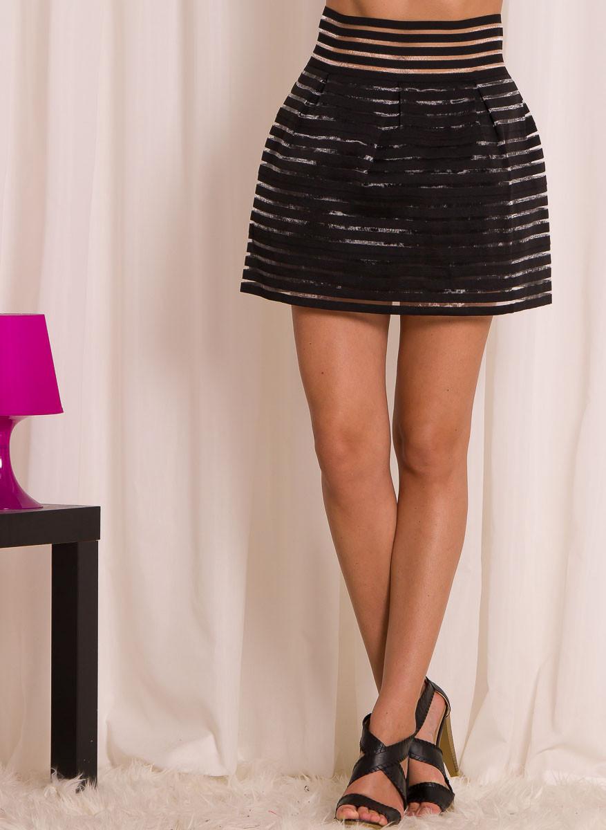 2e0c5ffe53f Dámská letní pruhovaná sukně - černá - Glamorous by Glam - Sukně ...