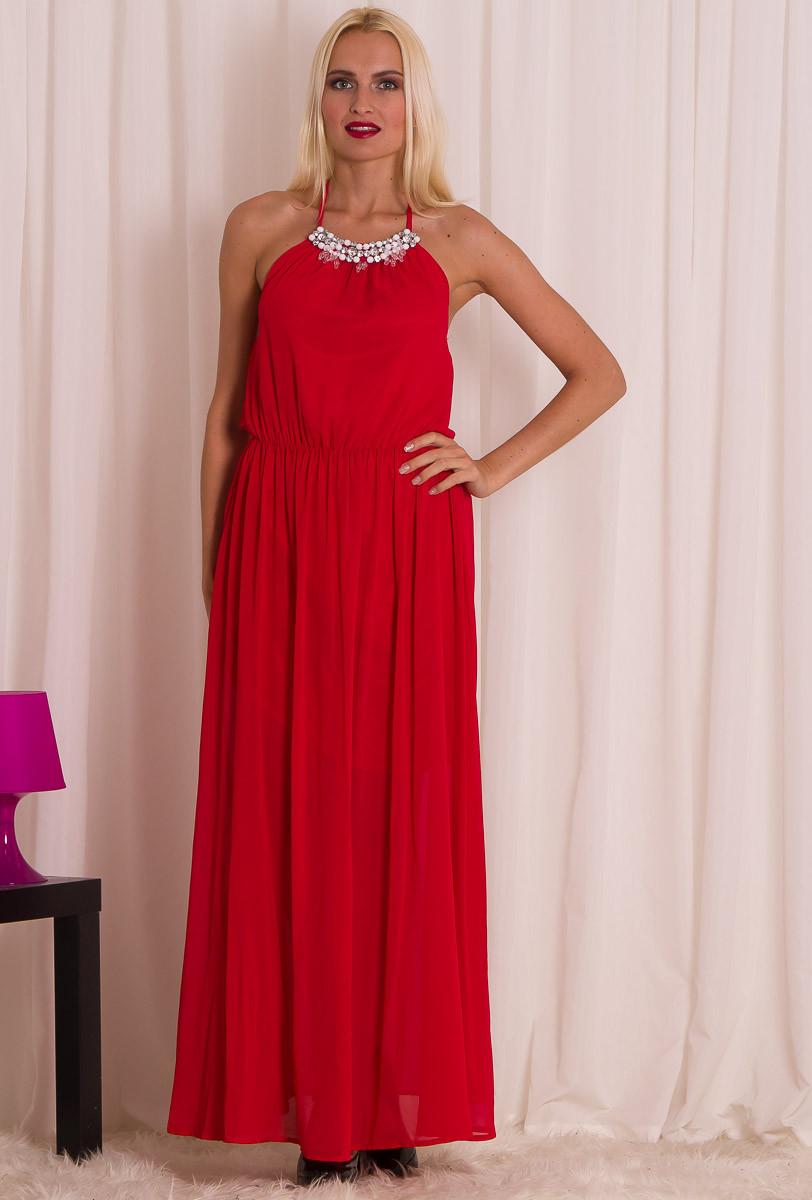 Dámské dlouhé letní šaty s kamínkami - červená - Glamorous by Glam ... 13f3d76069