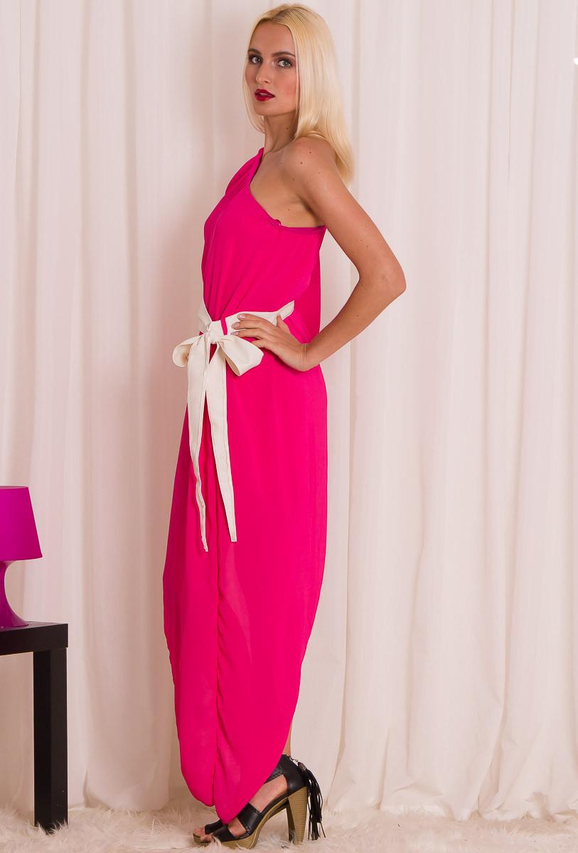 81eb7549a408 Glamadise.sk - Dámske dlhšie šaty na jedno rameno s pásikom - ružová ...