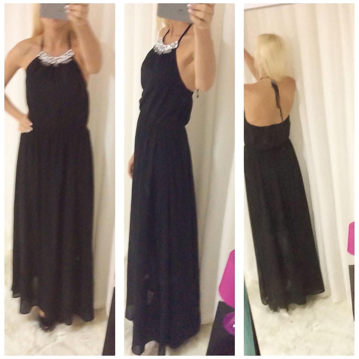 Dámské dlouhé letní šaty s kamínkami - černá - Glamorous by Glam ... 278728abea